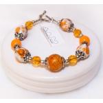 Sølv armbånd med hvite og oransje perler