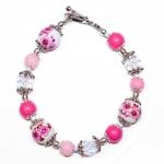 Sølv armbånd med porselen perler med rose blomster