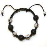 Shamballa armbånd med svarte vulkansk perler