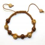 Brune shamballa armbånd med lampwork perler