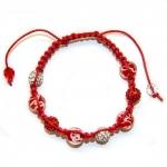 Røde shamballa armbånd med Murano glassperler