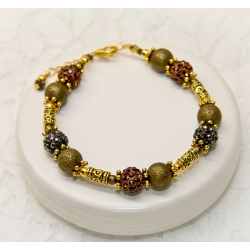 Antikk bronse armbånd med svarte og brune shamballa krystall perler