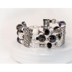 Antikk sølv tre rader armbånd med porselen og krystall perler