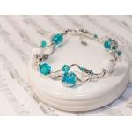 """""""Bølge"""" - sølv armbånd med hvite lavaperler, krystaller og turkise murano glassperler"""