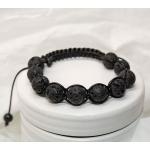 Svarte shamballa armbånd med vulkansk perler