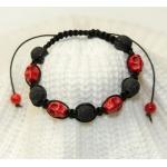 Shamballa armbånd med røde porselen skallen og svarte lavaperler