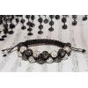 Dobbel shamballa armbånd med svarte og hvite krystall perler
