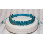 Dobbel shamballa armbånd med turkise glass perler