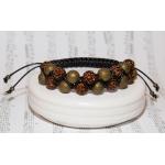 Dobbel shamballa armbånd med brune og bronse perler