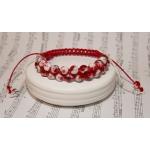 Dobbel shamballa armbånd med hvite og røde perler