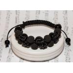 Dobbel shamballa armbånd med porselen skallen og svarte lavaperler