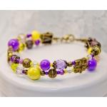 """""""Iris Blomster"""" - Antikk brons to rader armbånd med gule og lille perler"""