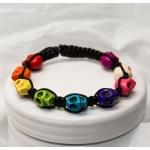 Regnbue shamballa armbånd med porselen skallen