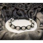 Shamballa armbånd med hvite krystall perler