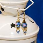 Øredobber med blå lampwork glassperler