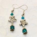 """""""Livet i Havet"""" - Antikk sølv øredobber med turkise og krystall perler"""