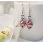 Sølv øredobber med lilla porselen perler