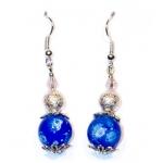 Sølv øredobber med blå og stardust perler