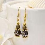 Antikk gylden øredobber med svarte shamballa krystall perler