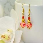 Gylden øredobber med gylne stardust og rosa fibo perler