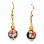 Gylden øredobber med kinesiske svarte og gylne perler