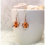 Oransje øredobber med Lampwork -perler