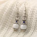 Sølv øredobber med hvite perler