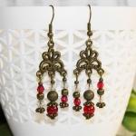 """""""Vintage Stil"""" - Antikk bronse øredobber med røde perler"""