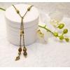 Antikk bronse elegante halskjede med svarte og brune shamballa krystall perler