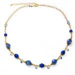 Halssmykker med blå lampwork glassperler