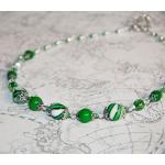 Sølv halssmykker med grønne lampwork-perler