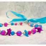Sølv halssmykker med lilla og turkis perler og bånd