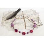 Sølv halssmykker med lilla heklede perler